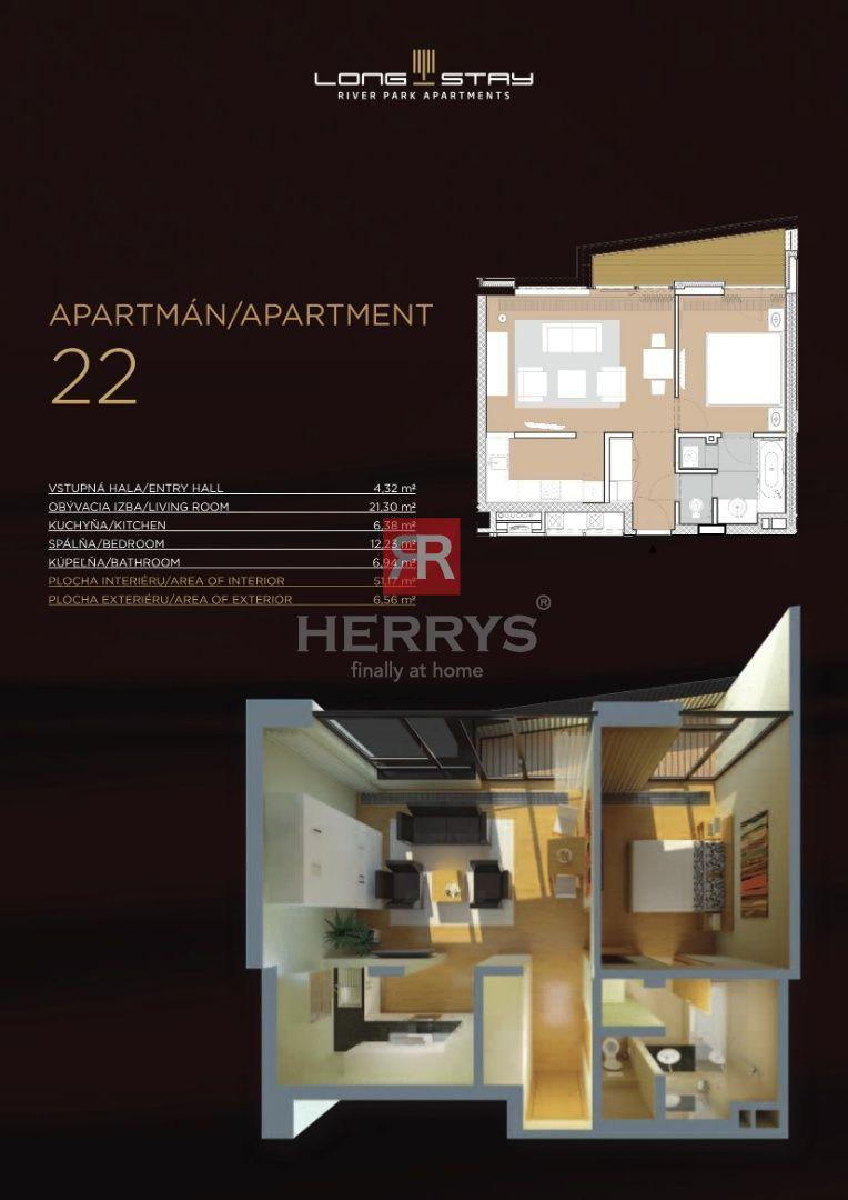 HERRYS - Na prenájom zariadený 2 izbový apartmán v projekte River Park pri nábreží Dunaja