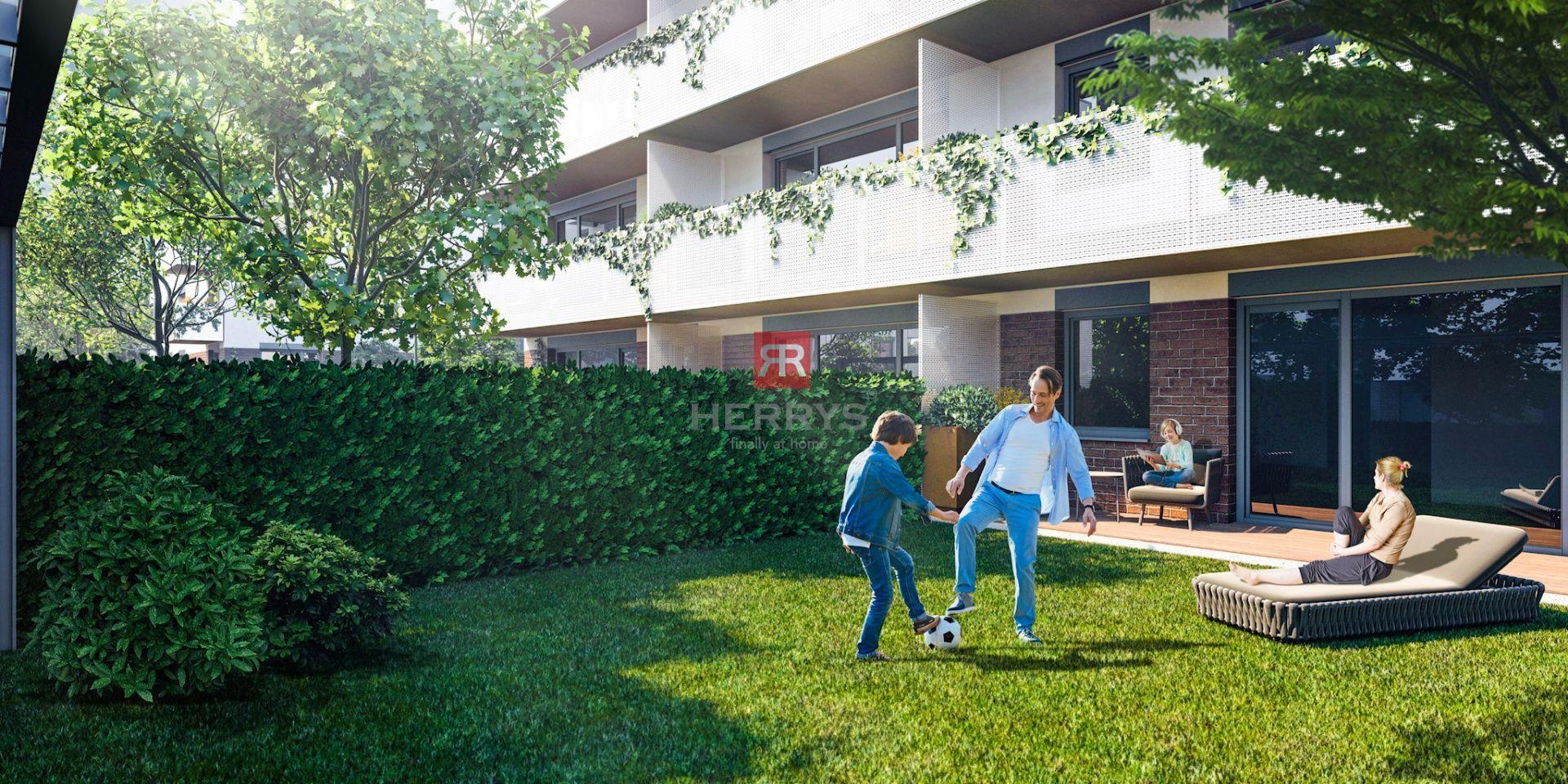 HERRYS - Na predaj 2 izbový byt s dvomi terasami a predzáhradkou v novom rezidenčnom projekte Pod Vinicou
